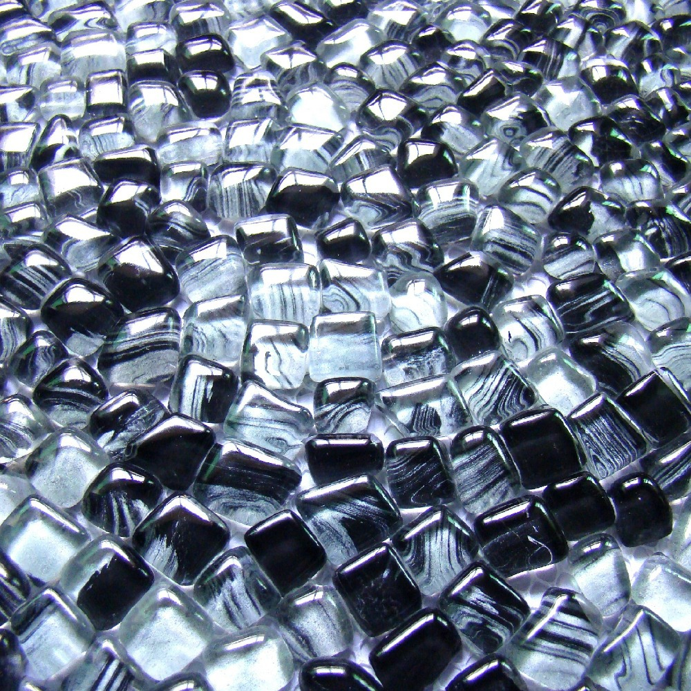 irregular shape gray mixed black color glass mosaic tiles EHGM1005J ...