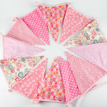 3.6M Pink Cotton Triangle Bunting