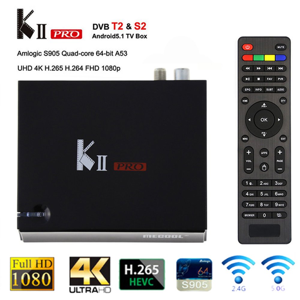 KII PRO DVB S2 T2 Android TV Box 2GB 16GB DVB-T2 DVB-S2 Android 5.1 Amlogic S905 Tv Box Bluetooth 2.4G/5G Wifi full Set Top Box