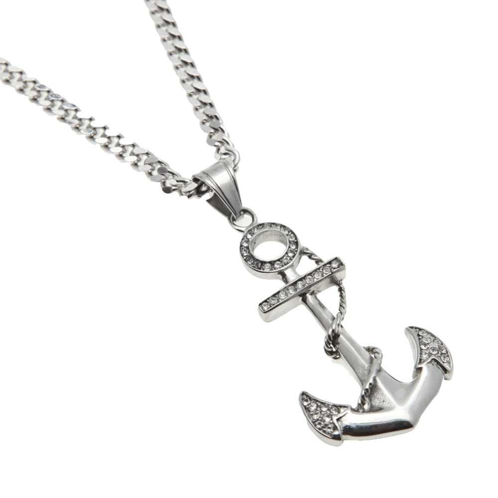 ทองสี Anchor Fish Hook สตีล Choker สร้อยคอผู้หญิงผู้ชาย Charm Chains Bling Rhinestone จี้ Hip Hop เครื่องประดับของขวัญ