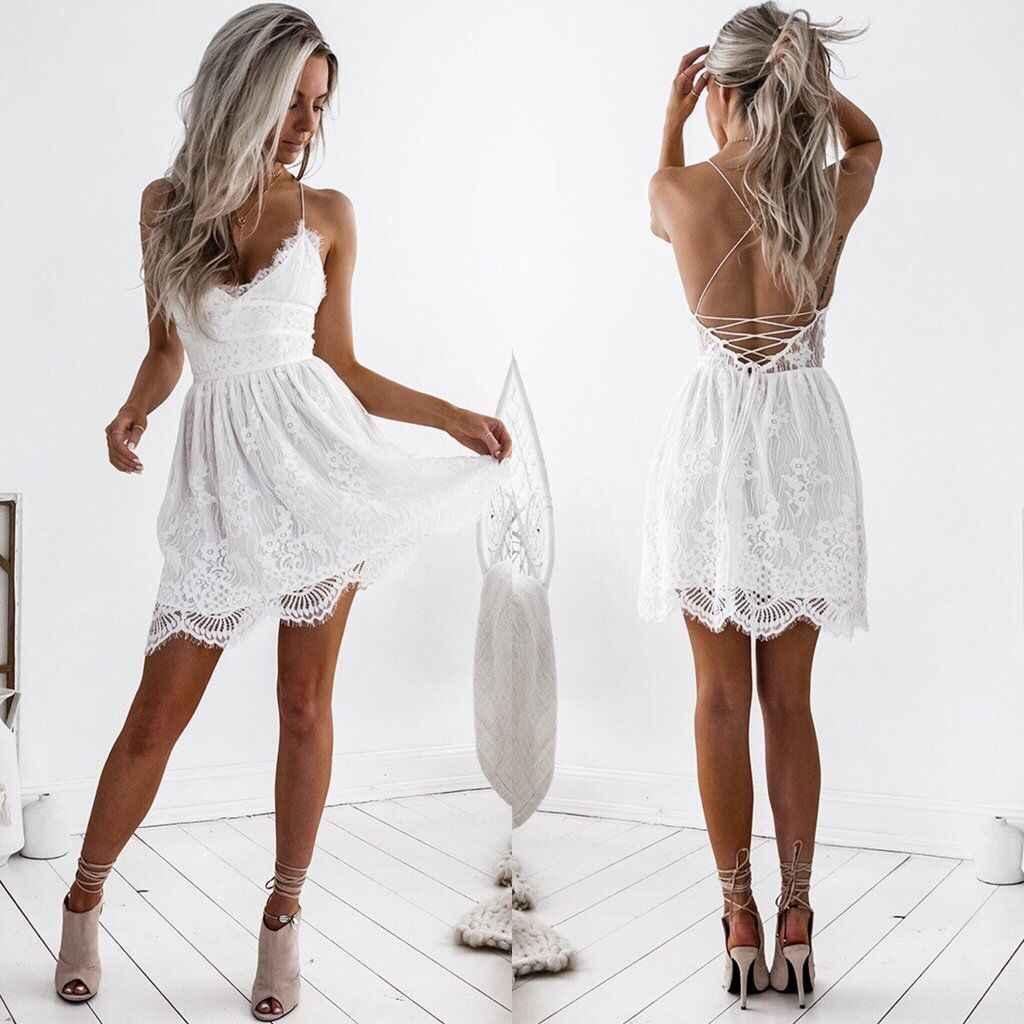 2bf4c8c6e90 ... Сексуальное Белое Кружевное платье с v-образным вырезом в стиле хиппи