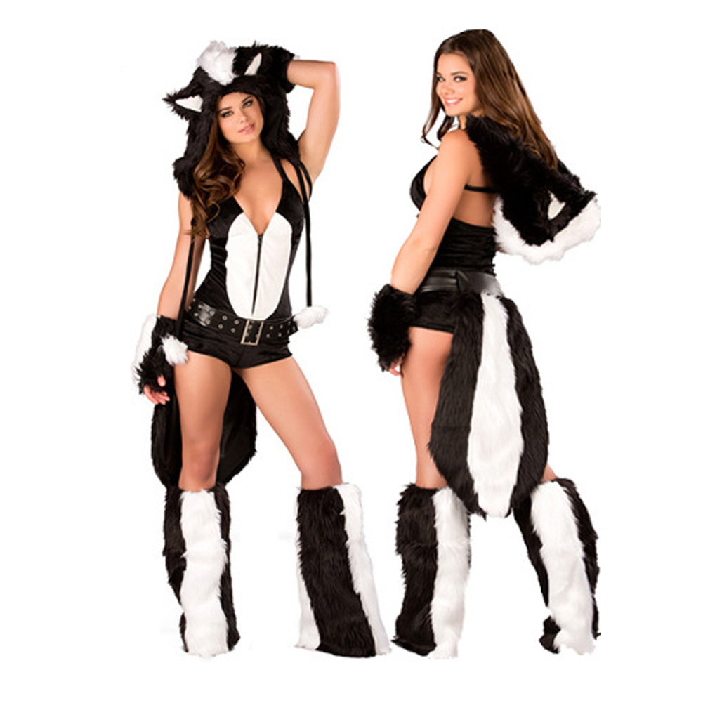 Costume Halloween Pour Adulte Maomao Dress skunks animal role playing Skunks Furry Costume halloween Costumes For Women LB