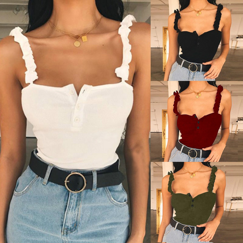 c6b65d4b758 Fashion Sexy Women Ladies Tank Tops Sleeveless Wear Button Tank Top Vest  Summer Short Crop Tops