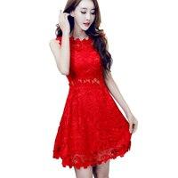 Đẹp Phụ Nữ Red Ren Dresses Ladies Tuần Trăng Mật Hollow Out Crochet Ngắn Thêu Dress Vestido Vermelho Robe Courte Dentelle