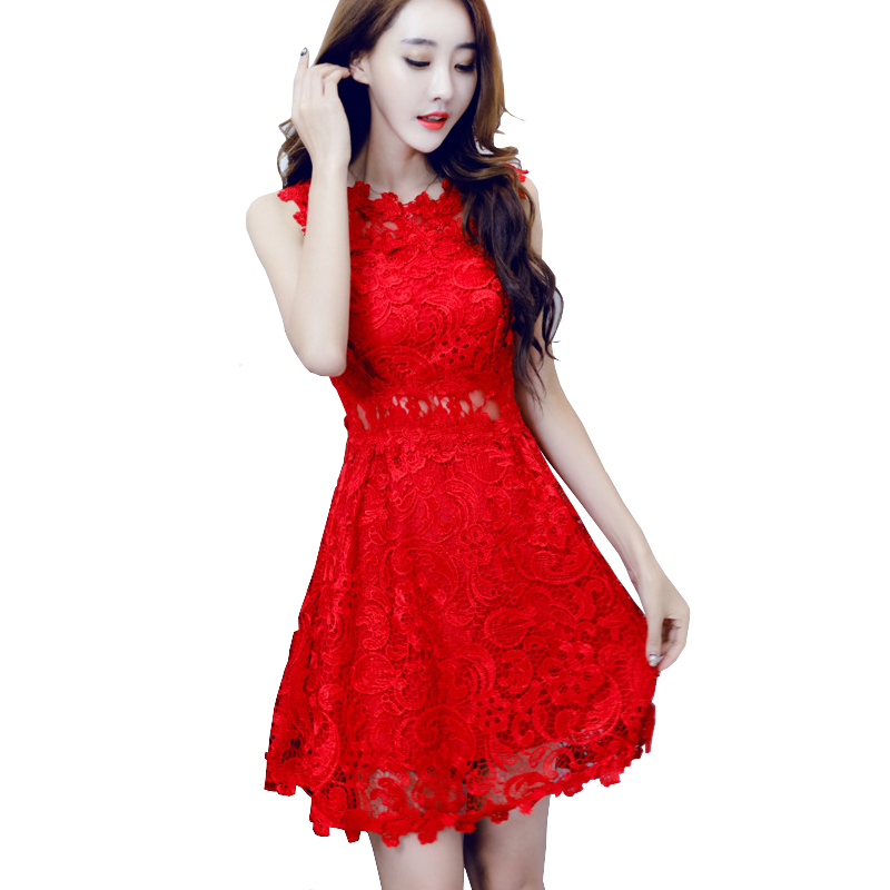 Nice Women Red Lace Dresses Ladies Honeymoon Hollow Out Crochet Short Embroidered Dress Vestido Vermelho Robe Courte Dentelle In From Womens