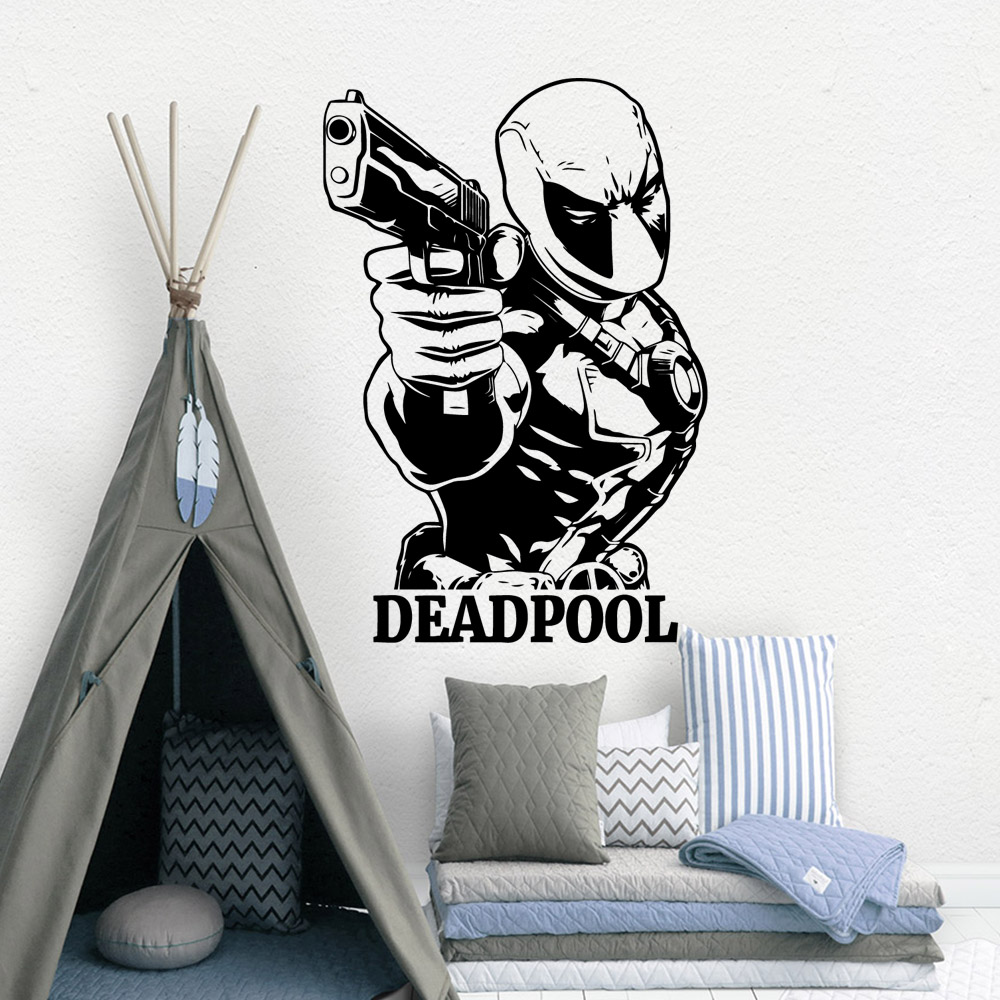 Funny DEADPOOL Sticker Home Decor For Kids Rooms Wall Stickers Living Room Mural Bedroom Decor naklejki na sciane in Wall Stickers from Home Garden