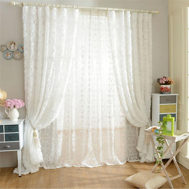 Tuedio Rose Shaped White Tulle Curtain For Bedroom Living Room Sheer Curtains Luxury D Wedding