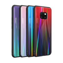 Tempered Glass Case for Huawei P30 Pro Gradient Color Aurora Laser Back Cover Mate 20 P30+