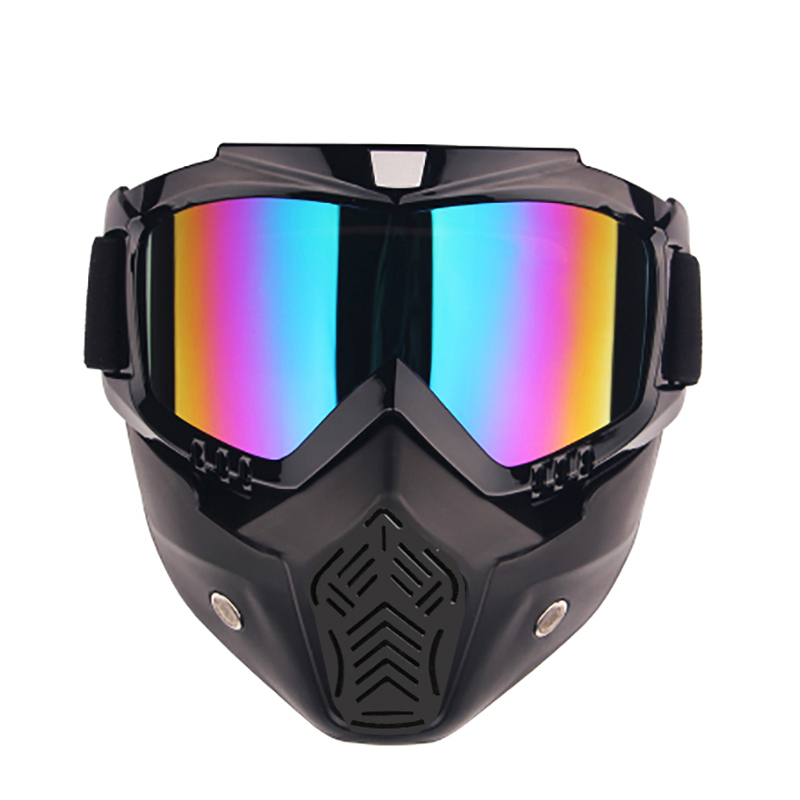 2017 New Modular Moto Helmet Mask Scooter Gafas Detachable Goggles &Mouth Filter For Open Face Motorcycle Half Vintage Helmets