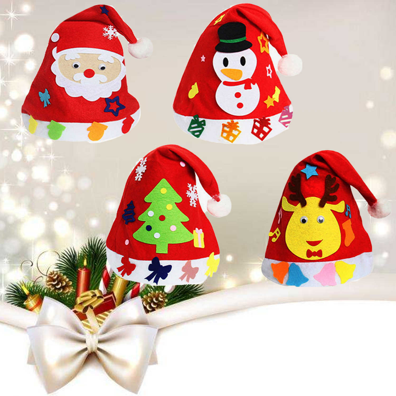 289a313da13f8 4Pcs Cute Unisex Children Kids Non-woven Fabric DIY Christmas Santa Claus  Hats Elk Tree