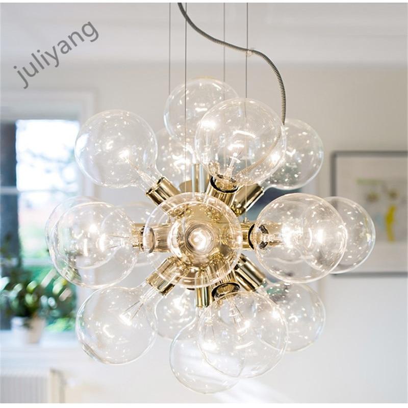 Juliyang современный дизайн стеклянный шар золотой люстра с 18 головы E27 лампы для гостиной бар столовая кухня и магазин 110 220 В