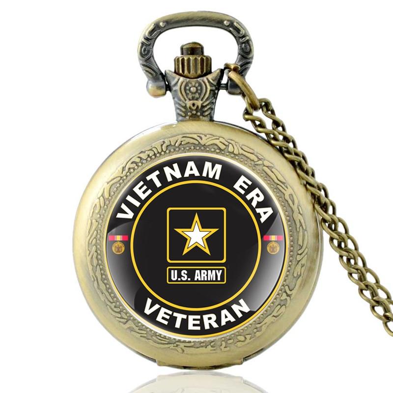 Antique Bronze Vietnam Era Veteran Quartz Pocket Watch Classic Men US Army Military Necklace Wacthes