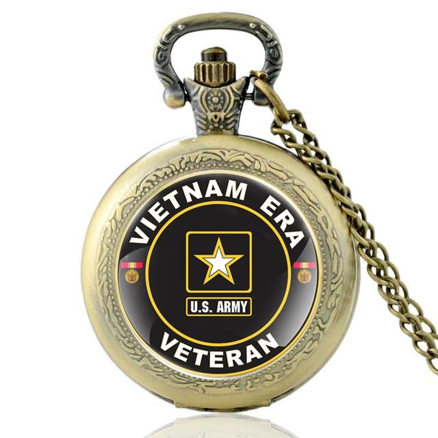 Antique Bronze Vietnam Era Veteran Quartz Pocket Watch Classic Men US Army Milit