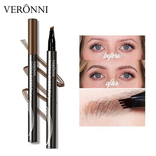 VERONNI 4 Colors Eyebrow Pencil Natural Maquillaje 3D Eyebrows Tint Eye Brow Microblading Eyebrow Tattoo Pen Extension Liquid 4