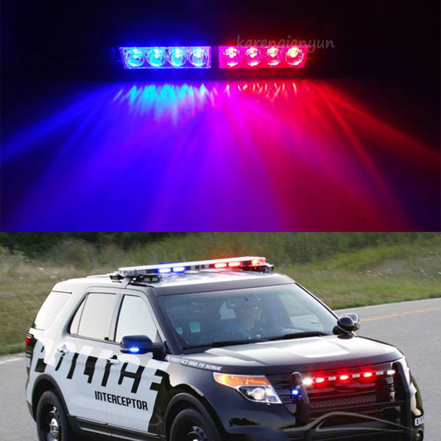 XYIVYG 8 LED Red Blue Car Police Dash Emergency Stobe Light Bar Warning  Flashing Lamp