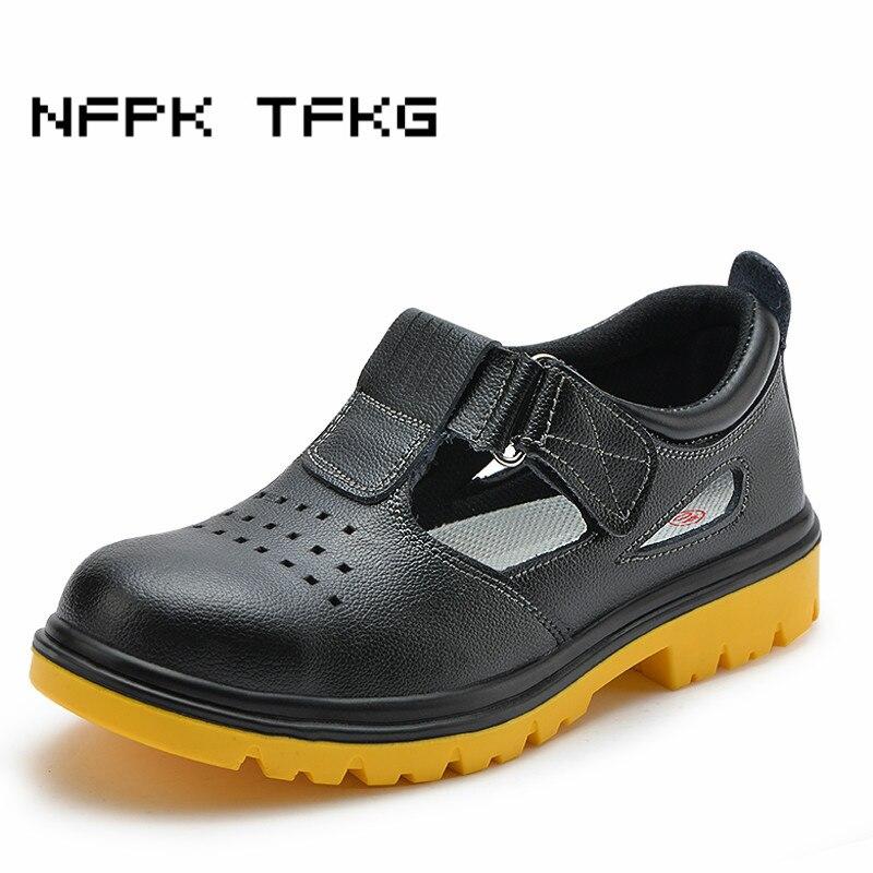 Большие размеры Мужская Повседневная дышащая безопасная обувь со стальным носком на открытом воздухе из коровьей кожи летние сандалии про...