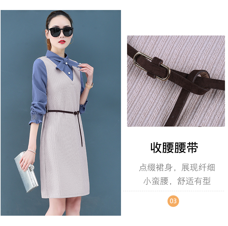 Render a dress in female new spring in the spring and autumn qiu dong fake two piece suit dress long 9