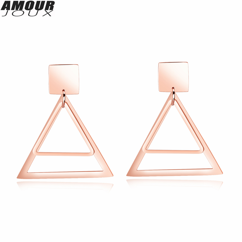 AMOURJOUX 2017 Fashion Rose Gold Color Triangle Charm 316L Stainless Steel Stud Earrings for Women Men Studs Female Earring