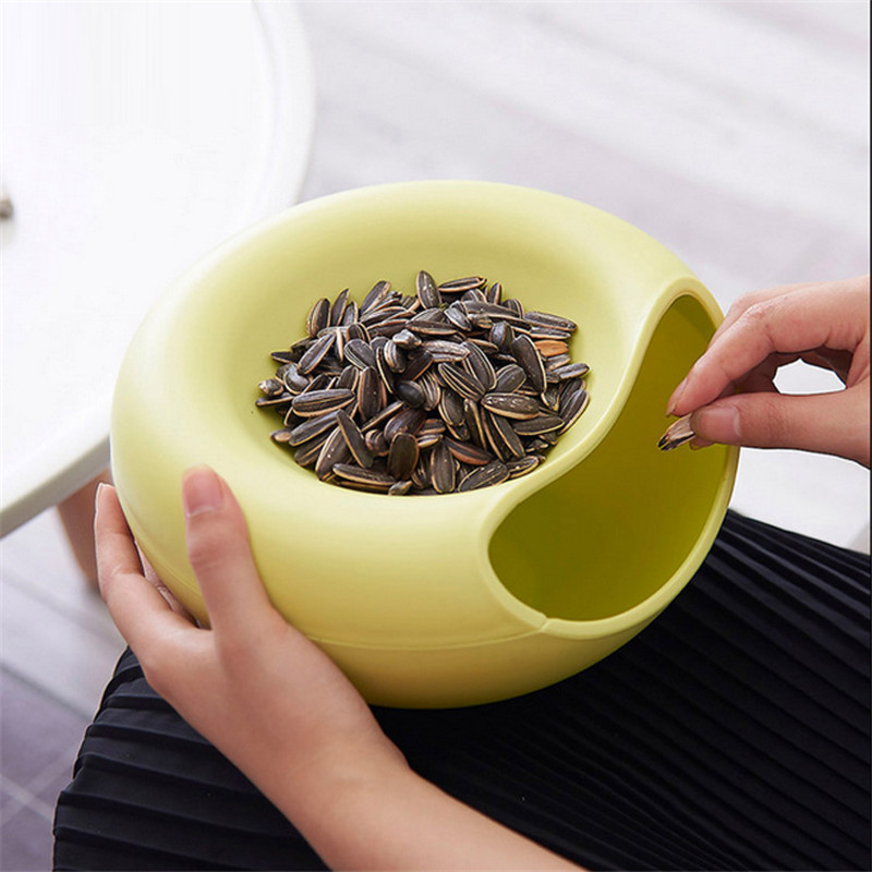 New Creative Opened Home Table Candy Snacks Dry Fruit Melon Seeds Holder Storage Box Nut Plate Dish Tray Garbage Box ...