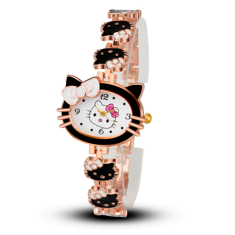Fashion Beauty Women Clock Cartoon Cat Bangle Watch Hook Buckle Metal Watch Bracelets Top Brand Luxury Quartz Wristwatches