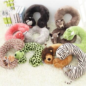 Милая u-образная подушка для путешествий с мультяшными животными, поддержка шеи, подголовник для взрослых и детей, офисный автомобиль, самол...