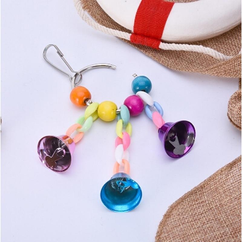 Красочные Бусины колокольчики игрушки попугай подвеска подвесной мост цепь для домашних животных Птица Попугай жевательные качели игрушки клетка для птиц инструменты для украшения дома