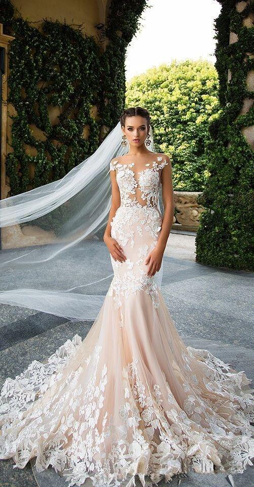 Milla Nova 2019 Designer Mermaid Wedding Dresses Illusion Neck Capped Sleeves Full Lace Appliqued Backless Bridal Dress