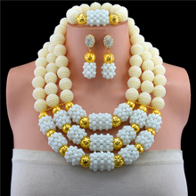 2017 Hot White African Beads Jewelry Set Nigerian Wedding Beads Jewelry Set Bridesmaid Necklace Jewelry Set Free Shipping SET 61