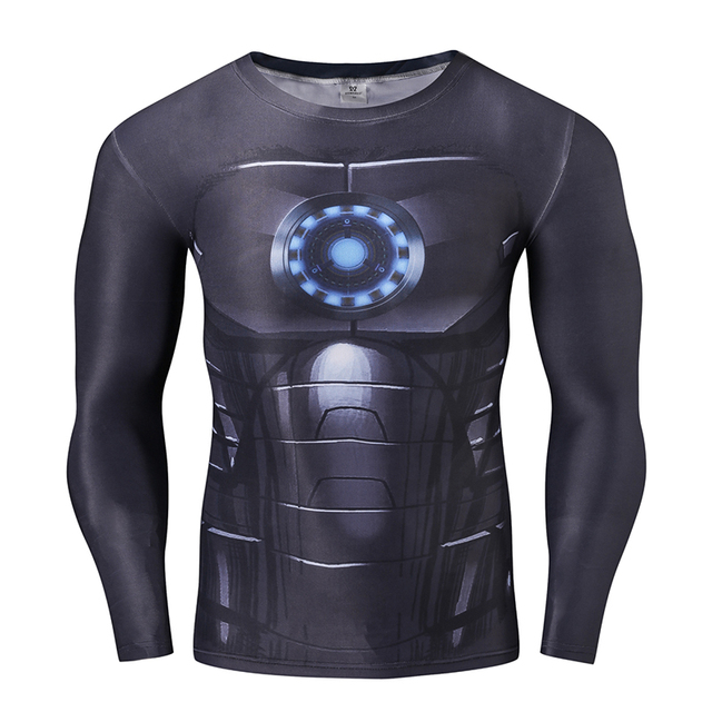 Superhero Ironman Compression Shirts Men 3D Printed T-shirts Long Sleeve Cosplay Fitness Body Building Male Crossfit Tops