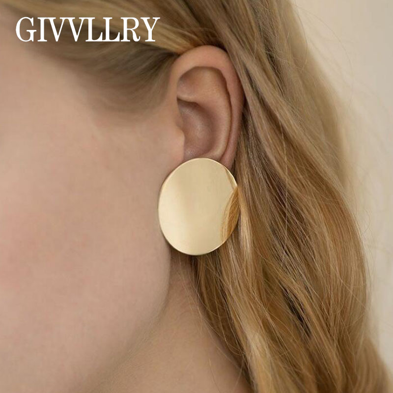 GIVVLLRY Creative Big Round Earrings Fashion Jewelry Punk Minimalist Gold Color Geometric Metal Sequin Stud Earrings for Women ...
