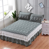 Modern simple 3pc gray circle tree stripe printing bedspread 100% cotton bed skirt pillowcase bedding bed sets queen king size