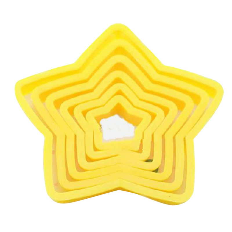 6pcsset christmas tree cookie cutter stars shape fondant cake biscuit cutter mold 3d cake decorating tools