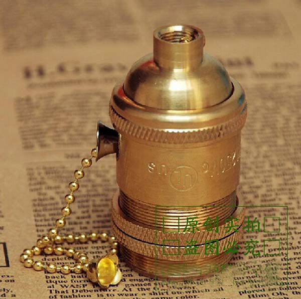 Free shipping Zipper lamp bases E26 brass bulb base underplating retro pull switch pendant light DIY lamp accessories