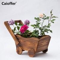 Caioffer Handmade Wooden Pot Floor Stand Mini Flowerpot For Cactuses Succulent Flowers Plant Cartoon Cart Style Bloempot 37*17cm