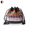 2016 Hot Sale National Style Women Messenger Bags Fashion Contrast Colorful Bucket Canvas Ladies Crossbody Bag Mochlia BS766