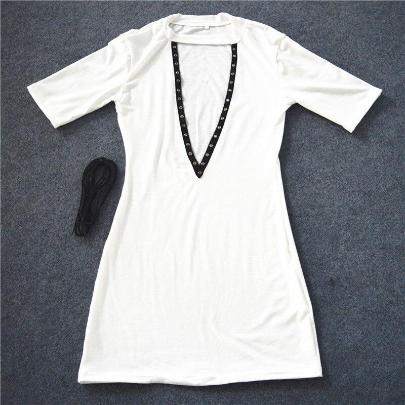 HTB1CG8KOpXXXXXWXpXXq6xXFXXXB - Sexy Out Lace Up V Neck Dress Women Short Sleeve PTC 48