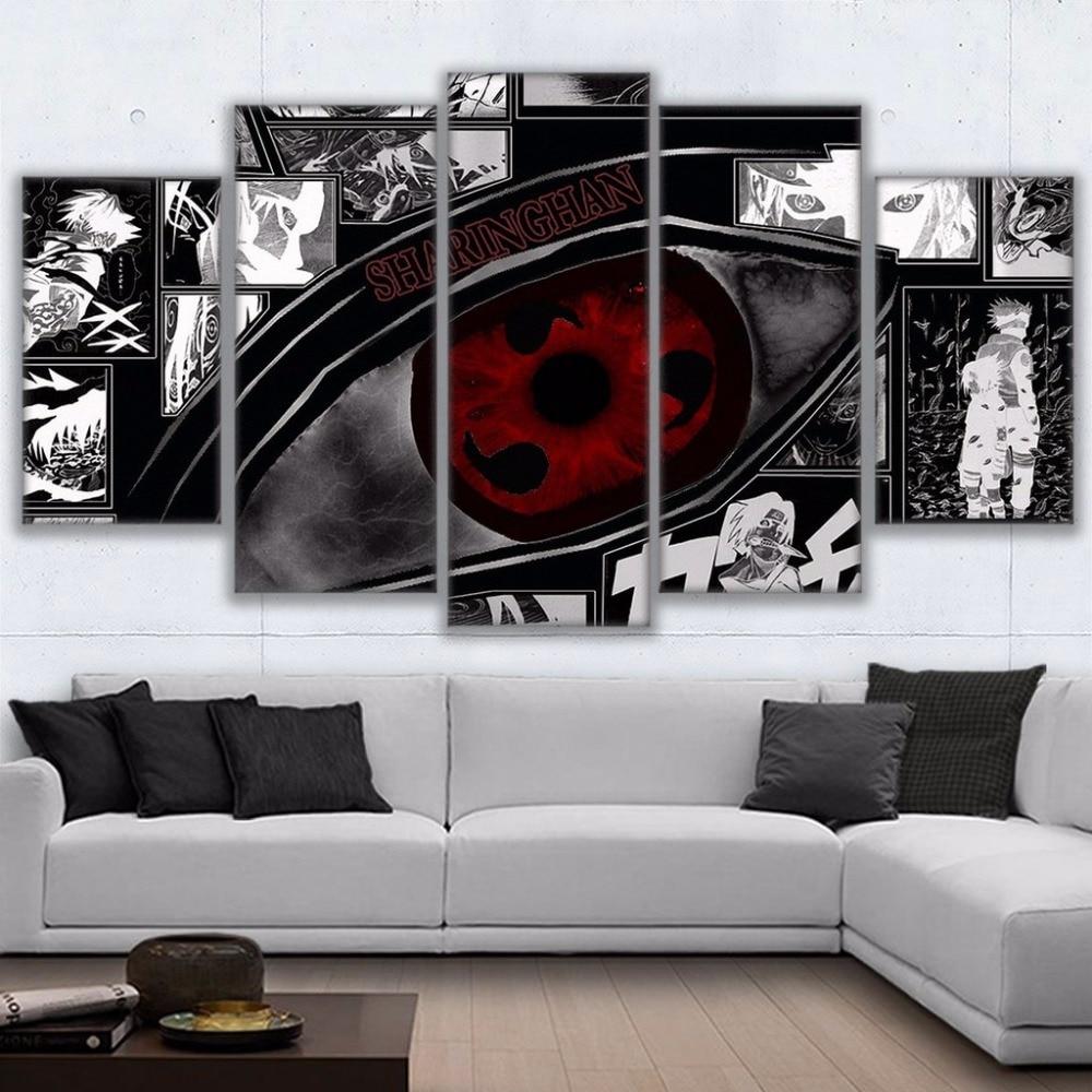 Tableau Sharingan Naruto 3 Modulaire mur Art photos toile HD imprim Anime peinture encadr 5 pi ces Naruto Sharingan affiche