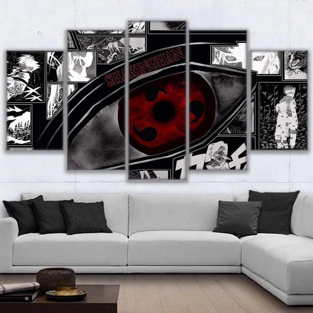 5 pieces naruto sharingan poster modern home decor room for House decoration pieces