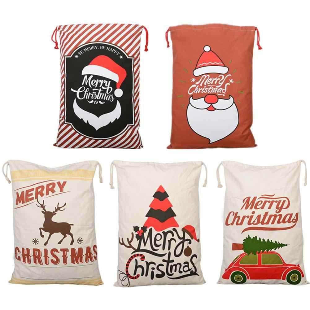Ano novo 1 pcs Criativo de natal Papai Noel Veados 5 Estilos Lona Cordão Saco de Papai Noel Saco Do Presente de Natal Decoração Rústica Do Vintage sacos