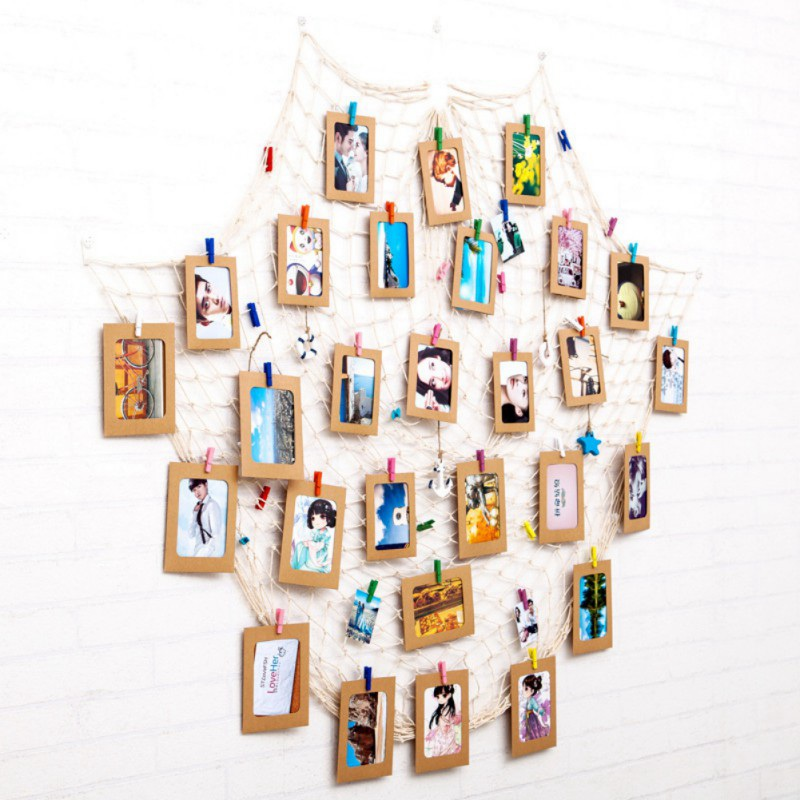 DIY Hanging Picture Photo Frame Display with Clip and Fishing Net ...