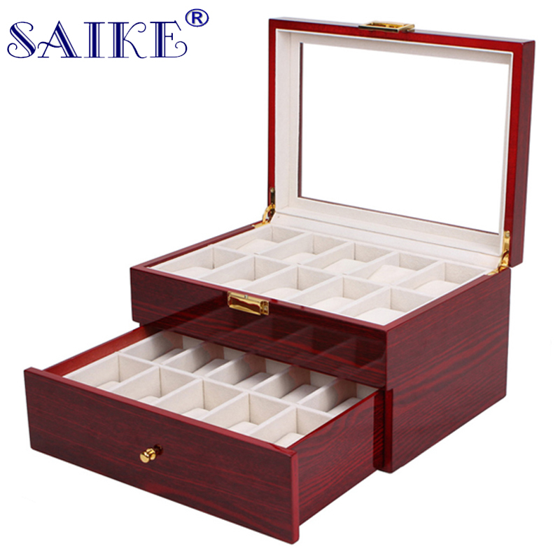 SAIKE 20 Grids Watch Display Box Lacquer Wood MDF Multifunction Watches Box Holder Case for Expensive Jewelry Watch Storage jinbei em 35x140 grids soft box