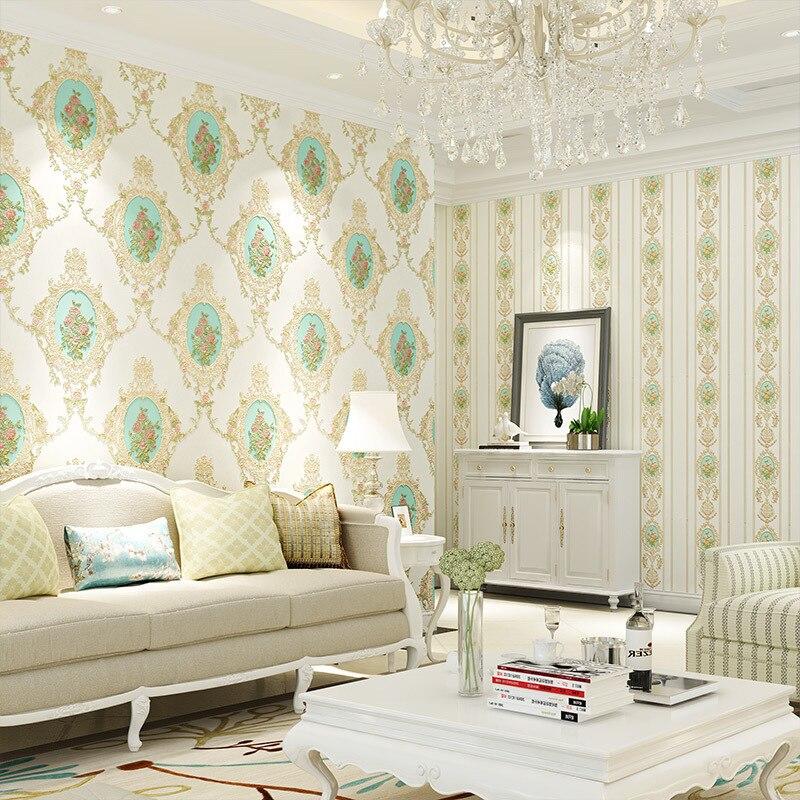 mirror european bedroom american garden background tv living 3d beibehang ab flower version roll wallpapers