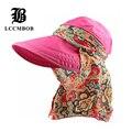 [FLB] оптовая Моды Лицо Защиты Вс Hat Летние Складные Шляпы Для Женщин Анти-Уф Широкий Большой Брим Регулируемые Женщины Шляпа Летом