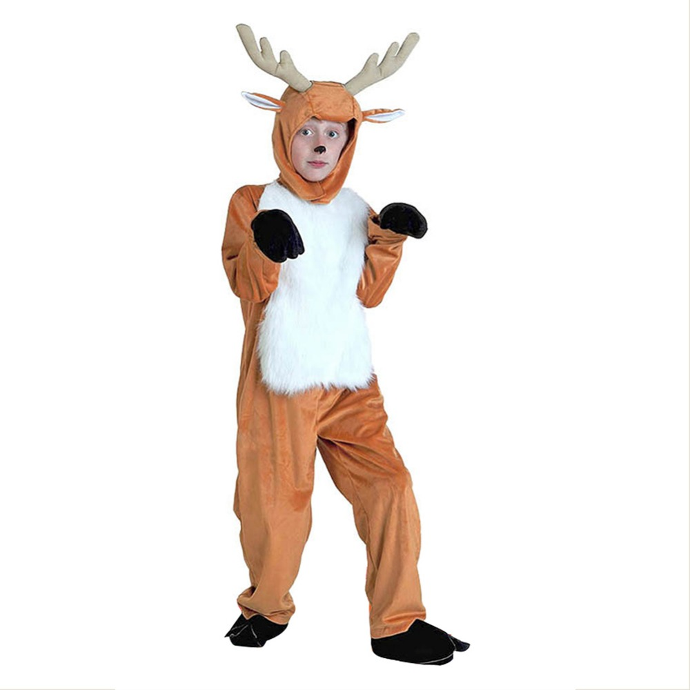 7dd15b5403 Unisex Children Plush Reindeer Pajamas Elk Deer Costume Christmas Holiday  One Piece Animal Cosplay Sleepwear on Aliexpress.com