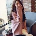 2016 Новый женщины осень зима водолазка трикотаж женский свободный пуловер свитера леди рукава летучая мышь сплошной цвет вязать свитер LX6199