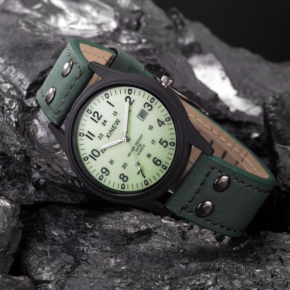 2018 Mens Gift Watch Men Vintage Classic Mens Waterproof Date Leather Strap Sport clock Quartz Army Watch reloj femenino amst
