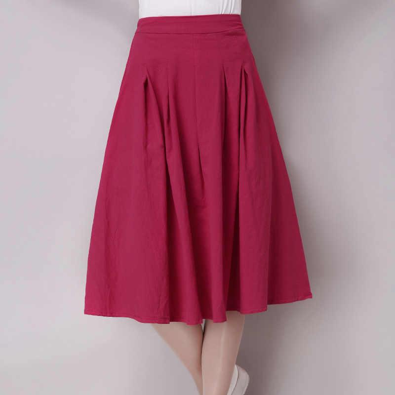 49e297bc630a ... Винтажная летняя бюст юбка женская льняная юбка универсальная  Повседневная однотонная плиссированная Юбки Модная женская одежда WJ305 ...