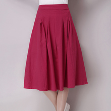 Vintage Summer Bust skirt Women Linen Skirts All-match Casual Pleated Solid Color skirts Fashion Women's clothing WJ305