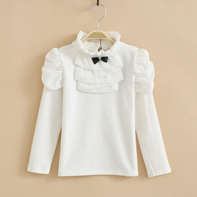 84c43722 New 2019 Spring Baby Girls Clothes Lace Collar Long Sleeve Child Shirt  School Girl White Blouse Kids Children Clothing Age1-7T