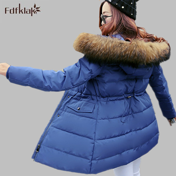 2016 New Fashion Winter Warm Down Cotton Jacket Women Slim Hooded Plus Size Long Down Jacket Coat M-XXXL Black/Beige E0681